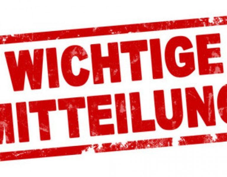 WICTIGE MITTEILUNG!!